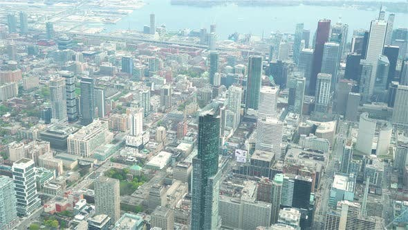 Thumbnail for Toronto, Canada, Aerial  - The Aura Tower during the day as seen from a helicopter