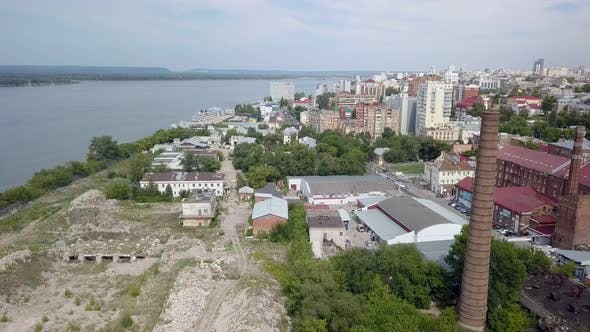 Thumbnail for Industrial and Living Area in City Near River in Summer Day, Aerial View