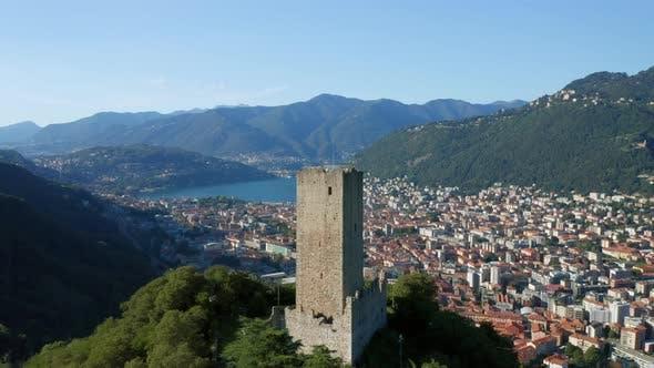 Thumbnail for Baradello Castle Como City Lake Aerial View