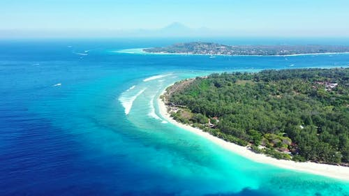 Luxury overhead copy space shot of a sunshine white sandy paradise beach and turquoise sea backgroun