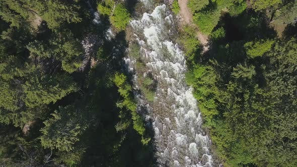 Thumbnail for Aerial Drone Topical View Showing Rushing Water Rapids Between Evergreen Forest 1