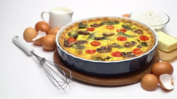 Thumbnail for Baked Homemade Quiche Pie in Ceramic Baking Form, Eggs and Cream