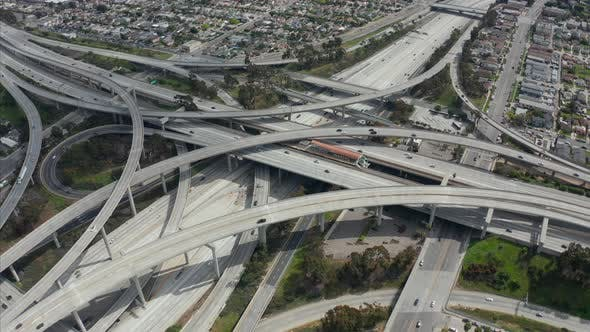 Thumbnail for AERIAL: Spectacular Judge Pregerson Highway Showing Multiple Roads, Bridges, Viaducts with Little