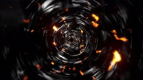 Abstract Fire Flake Particles Tornado Tunnel Effect 4K 01