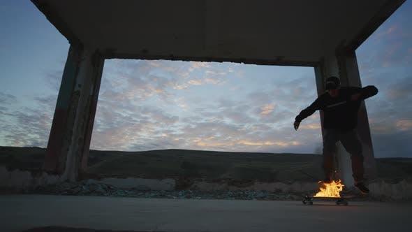 Thumbnail for Flip jump on a burning skateboard