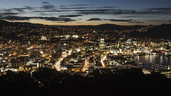 Thumbnail for Wellington at nightfall timelapse