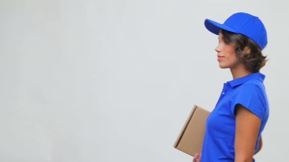 Thumbnail for Happy Delivery Girl with Parcel Box in Blue