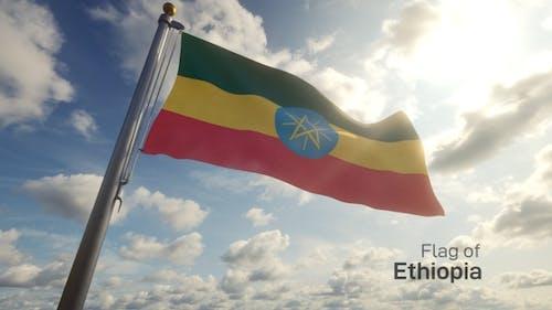 Ethiopia Flag on a Flagpole