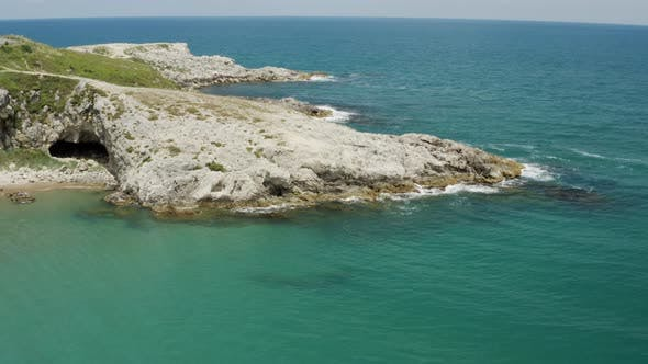 Cover Image for Clean Sea Waves And Rocks Aerial View 6