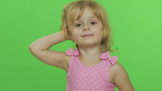 Thumbnail for Pretty Child Emotionally Makes Faces and Smile in Pink Swimsuit. Chroma Key