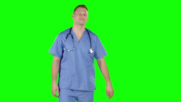 Cover Image for Smiling Female Doctor. Green Screen
