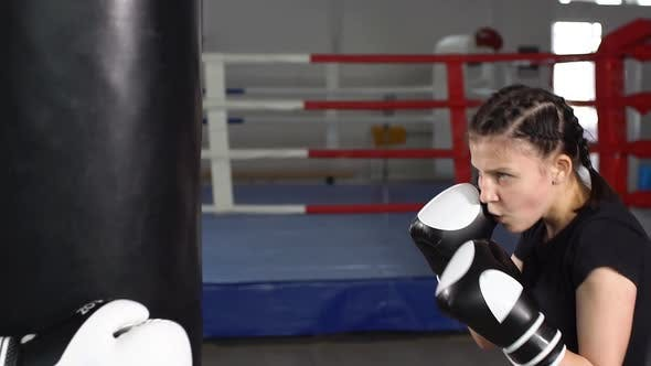 Thumbnail for Teen Girl in Boxing Gloves on Boxing Training. Slow Motion