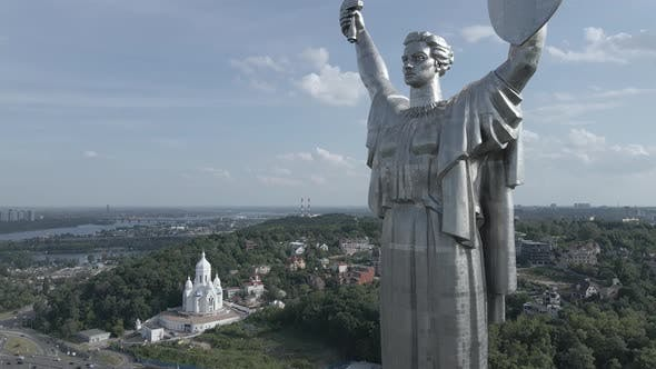 Thumbnail for Kyiv, Ukraine: Aerial View of the Motherland Monument. Flat, Gray