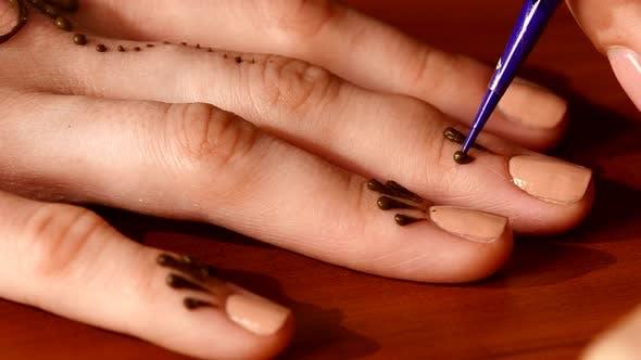 Thumbnail for Process of Applying Mehndi on Fingers