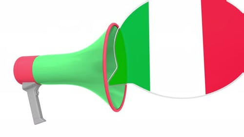 Loudspeaker and Flag of Italy on the Speech Bubble