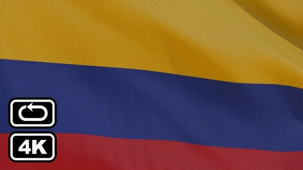 Thumbnail for Colombia Flag 4K Seamless Loop
