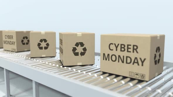 Thumbnail for Boxes with CYBER MONDAY Text Move on Roller Conveyor