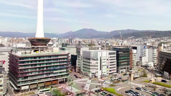Kyoto Downtown with Highrise TV Tower Timelapse