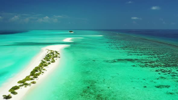 Thumbnail for Beautiful overhead tourism shot of a white sandy paradise beach and blue ocean background