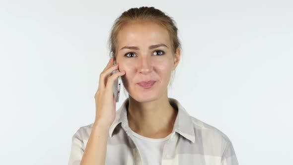 Thumbnail for Beautiful Girl Talking on Phone, Answering Call on White Background