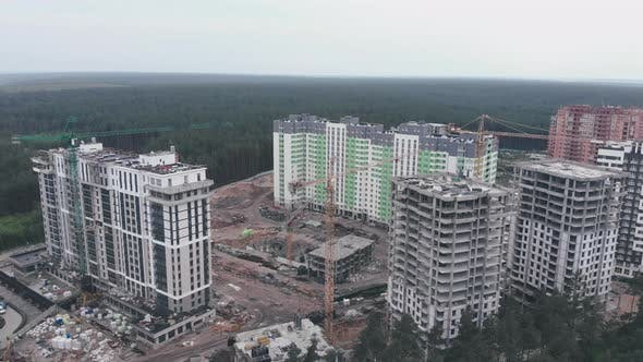 Thumbnail for Construction site with crane. High crane with new buildings