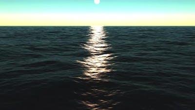 Realistic Sunset Sea Backround