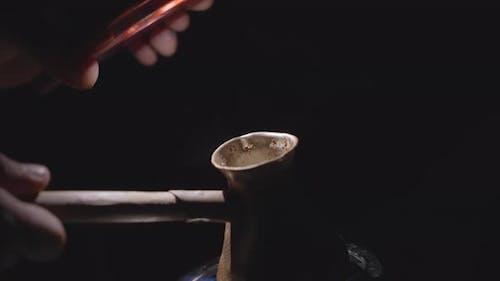 Traditional turkish coffee at night