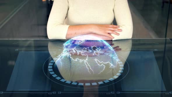 Thumbnail for Woman at Smart Screen and Virtual Earth Projection 52