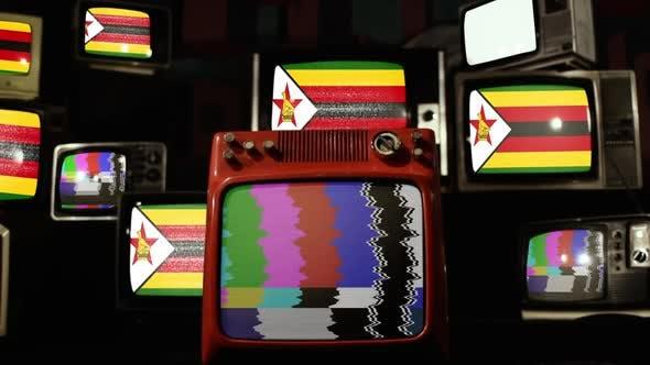Flag of Zimbabwe on a Retro TV Stack.