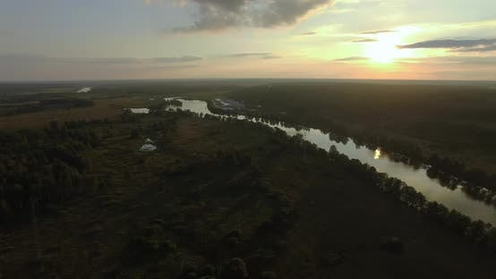 Thumbnail for Aerial Green Landscape with River at Sunset