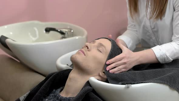 Barber Wiping Head with Towel