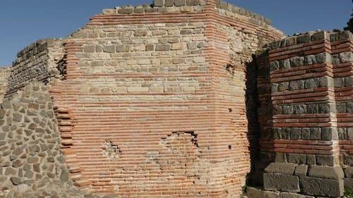 GAMZIGRAD, SERBIA - DECEMBER 25, 2017 Protecting walls of Felix Romuliana built by Roman Emperor Gal