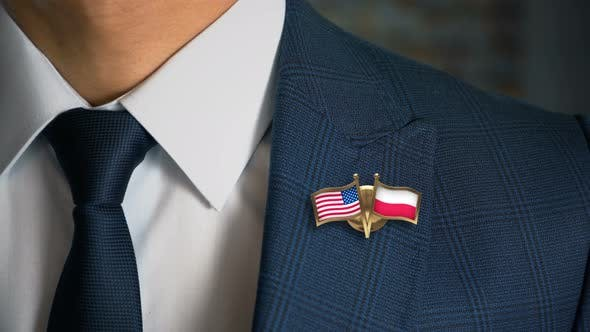 Thumbnail for Businessman Friend Flags Pin United States Of America Poland