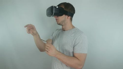Man In A Helmet Uses Online Banking