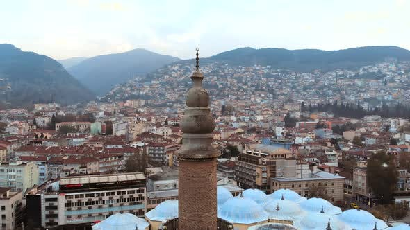 Aerial View of Bursa Historical Grand Mosque with Drone