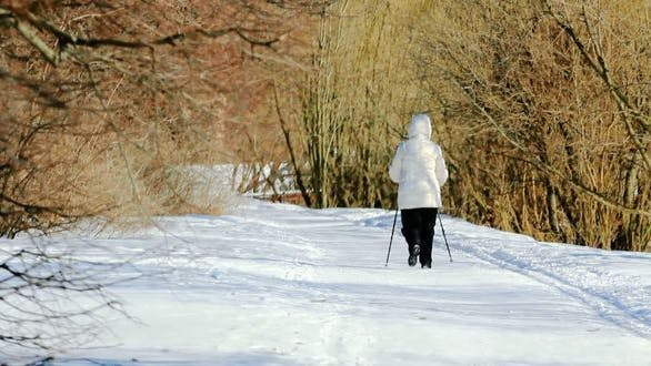 Cover Image for Woman is Walking With Ski-sticks