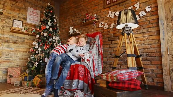 Children Play and Have Fun in Anticipation of Christmas Holidays