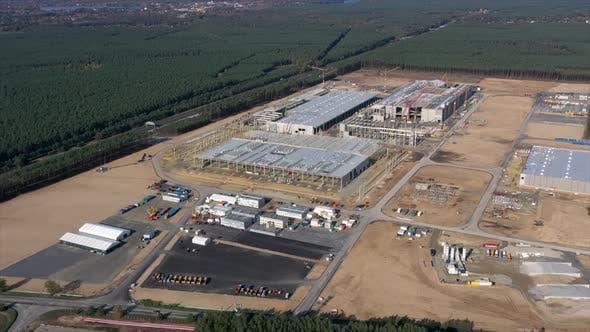 Hyper Lapse of the Tesla Gigafactory Being Built Near Berlin-Brandenburg, Germany, Construction Site