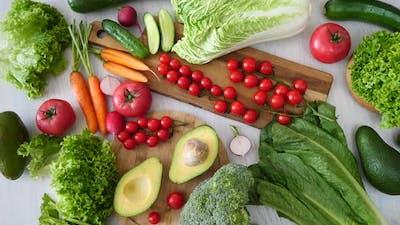 Assortment Of Fresh Vegetables On Table.