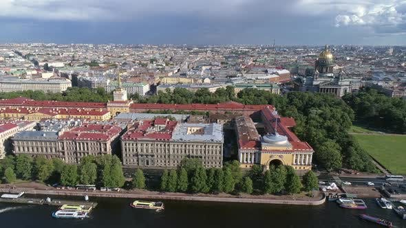 Thumbnail for Flight Over the Neva River Near Admiralty Russia