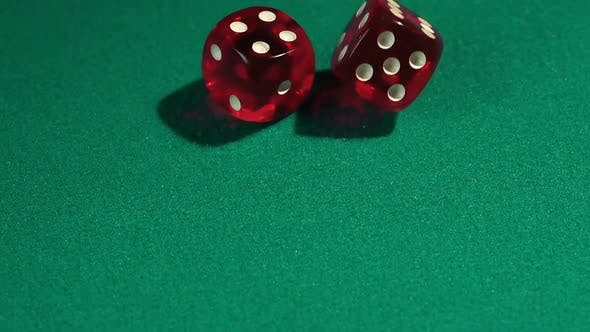 Thumbnail for Macro View of Red Dice Falling on Green Table, Playing Game at the Vegas Casino