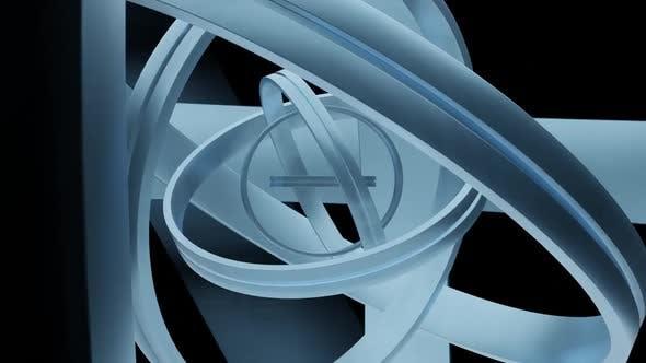 Glossy Metal Rings Rotating