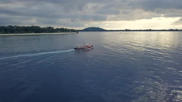Thumbnail for Aerial Drone View. Speed Boat Yacht for Tourism Goes in Ocean