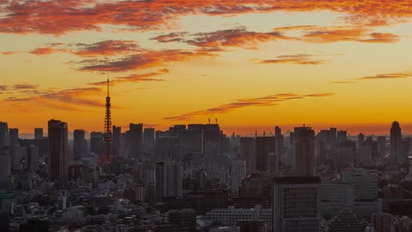 Thumbnail for Time Lapse of the densely packs buildings of Tokyo Japan at sunrise