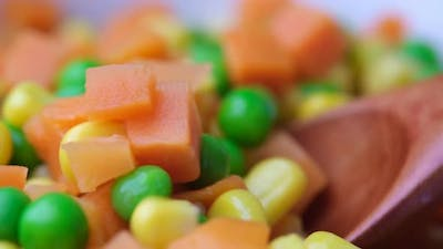 Close Up of Corn Carrot and Beans in a Bowl
