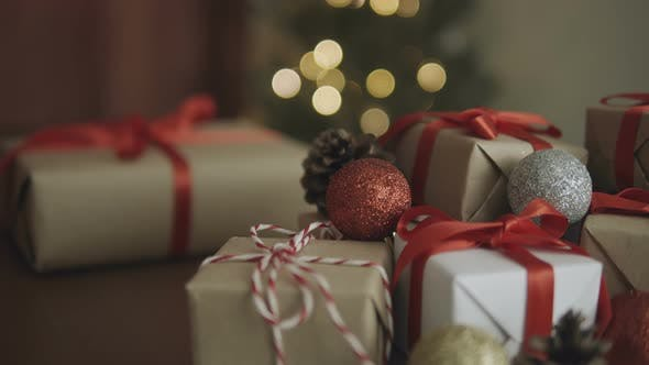 Gift Boxes And Christmas Ball Decoration