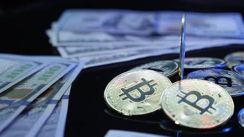 Bitcoin currency. Worldwide virtual internet money. Digital coin cyberspace.