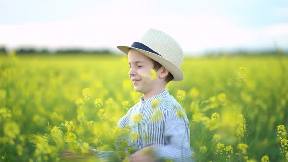 Thumbnail for Little Boy in a Hat in Yellow Field of Rapeseed.