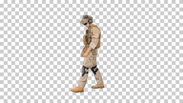 Thumbnail for USA ranger just walking by, Alpha Channel