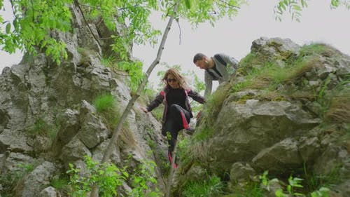 Hikers descending a mountain